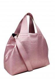Dámská kožená kabelka FACEBAG SOFI - Metalická růžová