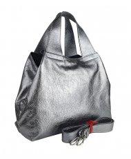 Dámská kožená kabelka FACEBAG SOFI - sříbrná