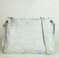 Dámská kožená kabelka FACEBAG CANNET - Smetanová s květinovým vzorem