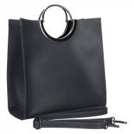 Luxusní dámská kožená kabelka FACEBAG ANGE 1 - Tmavá šedá hladká
