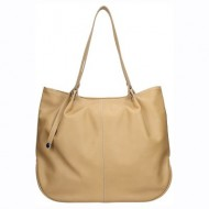 Dámská kožená kabelka FACEBAG LISA - Béžová