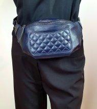 Dámská italská kožená ledvinka 85232 - Tmavá modrá