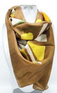 Dámský hedvábný šátek hnědo-oranžový