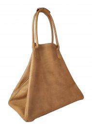 Dámská kožená kabelka FACEBAG MEDA - Přírodní hnědá hladká