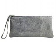 Dámská kožená taštička do ruky FACEBAG ELEN - Šedá s hadím vzorem