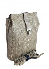 Dámská kožená kabelka FACEBAG ANNA - Pletené zlato
