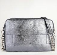 Dámská kožená kabelka FACEBAG NINA - Stříbrná hladká