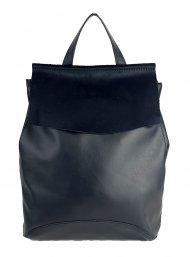Designový kožený batůžek FACEBAG KENNY 8018 - Černá hladká + černá srst