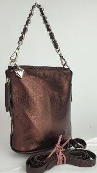 Dámská kožená kabelka FACEBAG EMMA I. - Metalická tmavá hnědá hladká