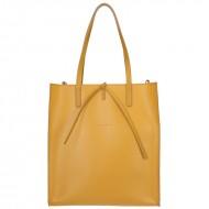 Dámská kožená kabelka FACEBAG REIMS - Tmavá žlutá