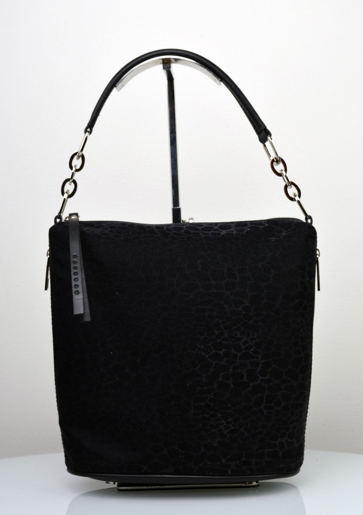 7ae703eef Dámská kožená kabelka FACEBAG MOLY - Kombinace látky a kůže - Černá se  třpytkami