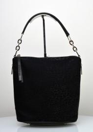 Dámská kožená kabelka FACEBAG MOLY - Kombinace látky a kůže - Černá se třpytkami