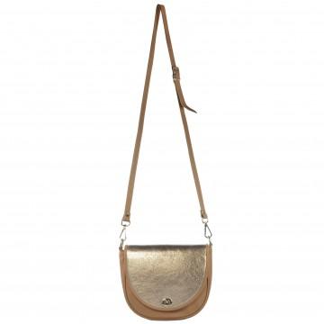 Dámská kožená kabelka FACEBAG LILI - Tmavá písková + zlatá