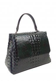 Dámská kožená kabelka FACEBAG GRACE - Zeleno-černá kroko lak