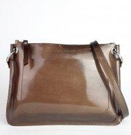 Dámská kožená kabelka FACEBAG - CANNET - Tmavá hnědá lak