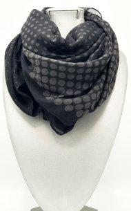 Dámský šátek z viskózy černý s puntíky