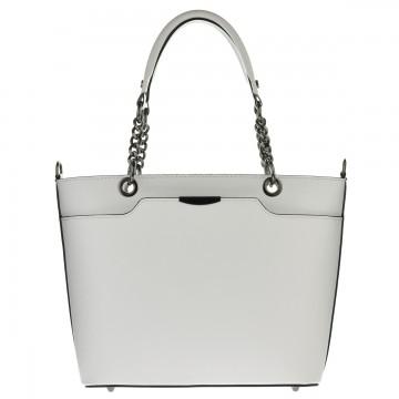 Dámská italská kožená kabelka LEONE - Bílá