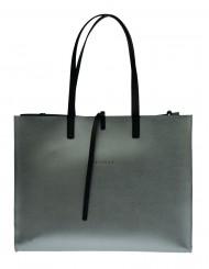 Dámská kožená kabelka FACEBAG CHERI - Stříbrná
