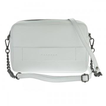 Dámská kožená kabelka FACEBAG CASSETTA - Bílá + černá