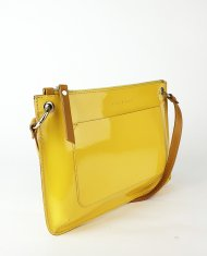 Dámská kožená kabelka FACEBAG - CANNET - Žlutá lak