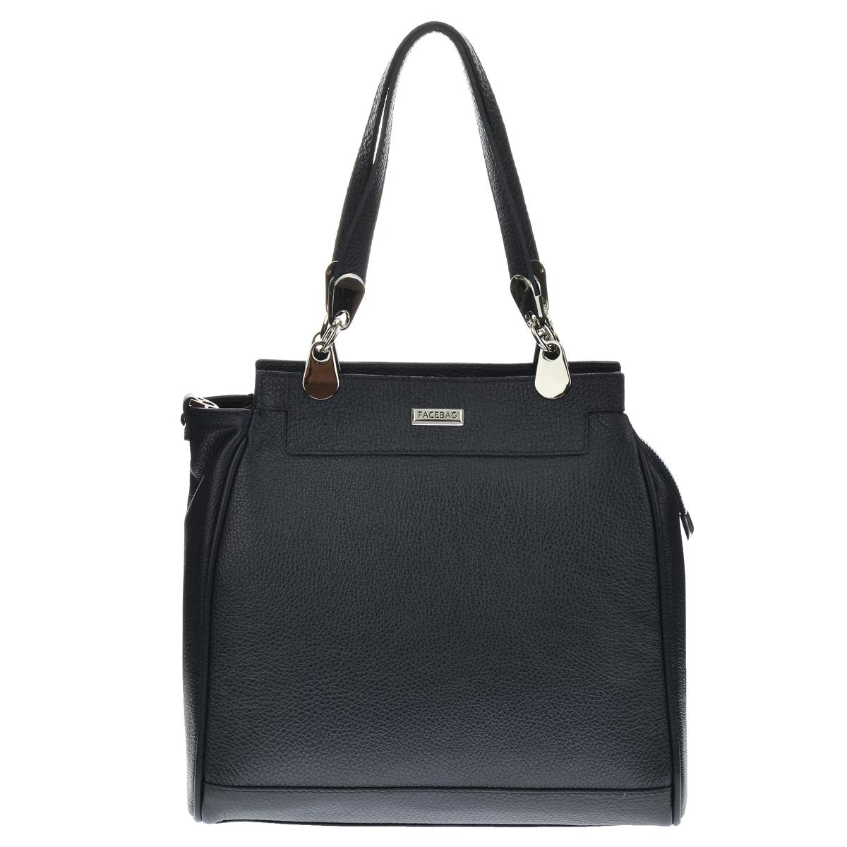 Dámská kožená kabelka FACEBAG TORRINA - Černá