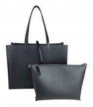 Dámská kožená kabelka FACEBAG 2v1 CHERI 1 - Černá s lakovanými uchy