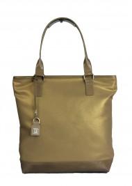 Dámská látková kabelka FACEBAG JANA - zlato - béžová látka + kůže