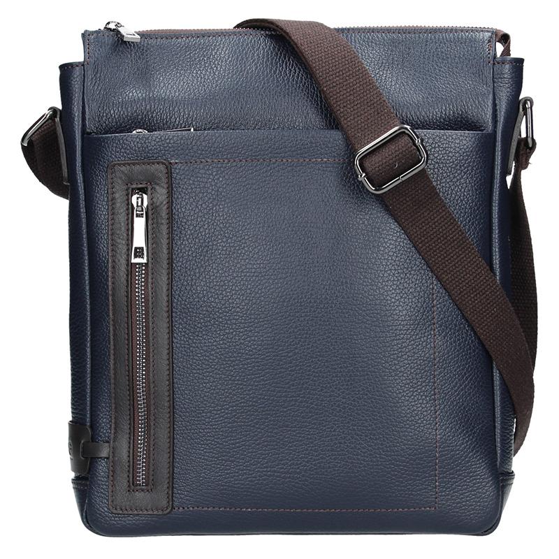 5df271e4cf Pánská kožená taška BRUNO - Modrá + hnědá