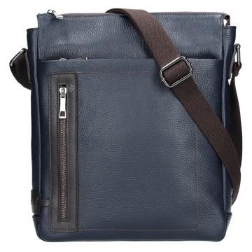 Pánská kožená taška BRUNO - Modrá + hnědá