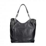 Dámská kožená kabelka FACEBAG AGATA - Černá hladká