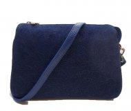 Dámská italská kožená kabelka 3282 - Tmavá modrá se vzorem