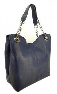 Dámská kožená kabelka FACEBAG AGATA - Tmavá modrá hladká
