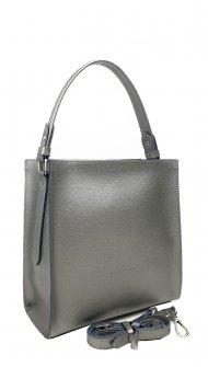 Dámská kožená kabelka FACEBAG ANGE - Stříbrná *palmellato*