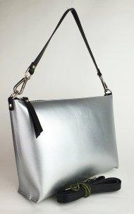 Dámská kožená kabelka FACEBAG RACHEL -  Stříbrná hladká