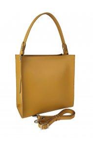 Dámská kožená kabelka FACEBAG ANGE - Tmavá žlutá *ruga*