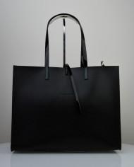 Dámská kožená kabelka FACEBAG CHERI - Černá s lakovými uchy