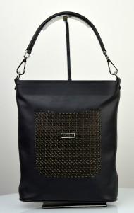 Dámská kožená kabelka FACEBAG LINA - Černá s perforovanou kapsou
