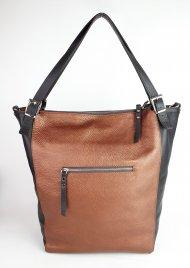Dámská kožená kabelka FACEBAG RIRI - Metalická hnědá + hnědá