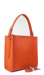 Dámská kožená kabelka FACEBAG ANGE - Oranžová oboustranná