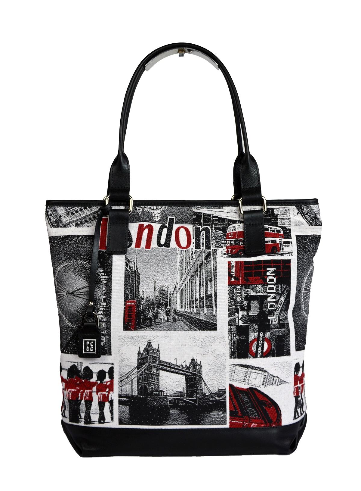 Dámská látková kabelka FACEBAG JANA - London látka + kůže
