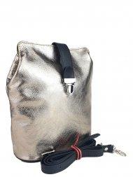 Dámská kožená kabelka FACEBAG ANNA S. - Zlatá + černá hladká
