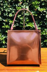 Dámská kožená kabelka FACEBAG ANGE - lak růžová