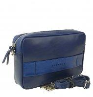 Dámská kožená kabelka FACEBAG NINA - Modrá hladká s drážkovaným páskem