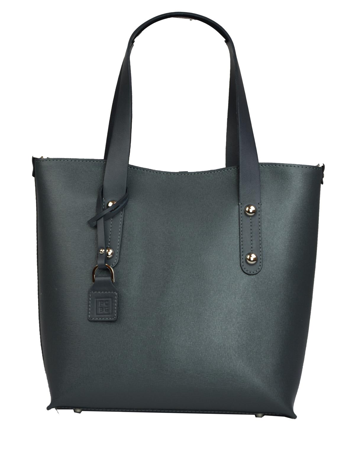 Dámská kožená kabelka FACEBAG IRENE - Šedo - modrá