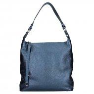 Dámská kožená kabelka FACEBAG TARA - Metalická modrá