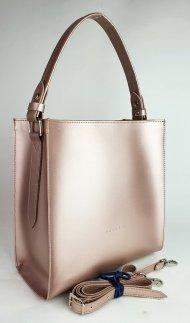 Dámská kožená kabelka FACEBAG ANGE - Metalická růžová *ruga*