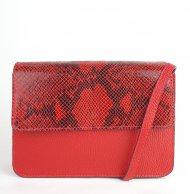 Dámská italská kožená kabelka 3298 - Červená s hadím vzorem