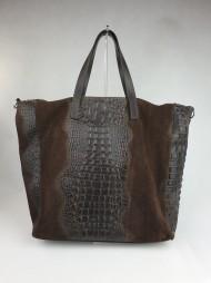 Dámská italská kabelka 1013-1 - Hnědá kůže + semiš