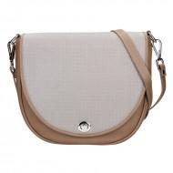 Dámská kožená kabelka FACEBAG LILI 1 - Taupe + perforovaná šedá