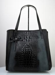 Dámská kožená kabelka FACEBAG MONA - Černá kroko